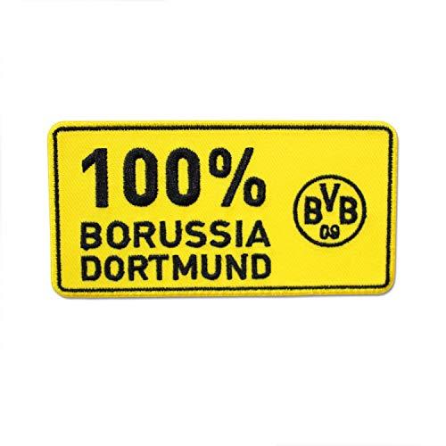 Borussia Dortmund Aufnäher - 100% Borussia Dortmund - Patch, Aufbügler BVB 09 - Plus Lesezeichen I Love Dortmund