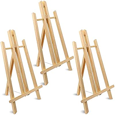 Jekkis 16 x 9.5 Inches Wooden Easel, 3 Packs Tabletop Display Easels, Art Craft Painting Easel Stand for Kids Artist Adults Students Classroom
