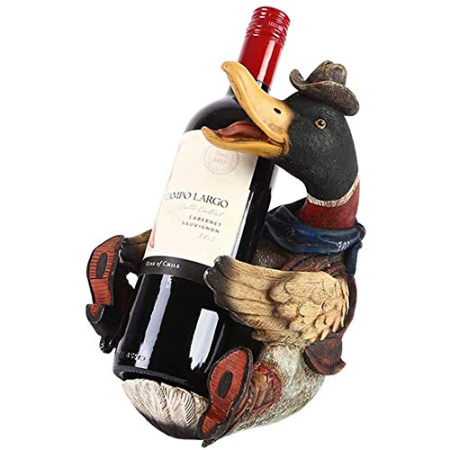 FHKBK Wine Shelf Creative Duck Wine Bottle Rack Resin Free Standing Wine Holder Home Bars TV Cabinet Decorations Festival Storage