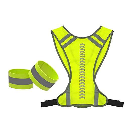 Chalecos de seguridad Prácticos chalecos reflectantes de advertencia de seguridad con 2 reflexiva brazalete for el aire libre Noche MTB Ciclismo Correr Deportes Chalecos reflectantes de alta visibilid