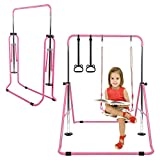 Gymnastics Horizontal Bars for Kids Home with Deluxe Swing Set and Adjustable...