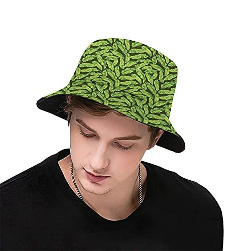 Unisex Bucket Hat Summer Travel Bucket Beach Sun Hat Artistic Design Tropic Pattern with Exotic Leaves Simplicity Outdoor Cap for Men Women