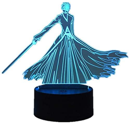 Lámpara de ilusión de luz de noche Led 3D personaje de dibujos animados de Anime Usb Kurosaki Ichigo dormitorio hogar moda S