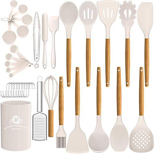 AIKKIL Juego de 27 utensilios de cocina de silicona, con mango de madera, antiadherente, resistente al calor, color caqui