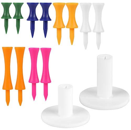 MissZM Soportes de goma para golf – Driving Range 2 Tees en blanco + 12 soportes de tamaño mixto en 6 colores para practicar esterillas de entrenamiento (14 piezas)