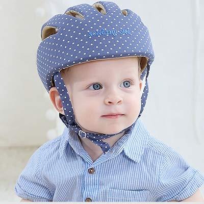 Niños Niñas Sombrero de Invierno para bebés Casco Protector de Malla de algodón para bebés Aprenda a Caminar Gorra para niños anticolisión Ajustable Suave-Blue dot-TI505