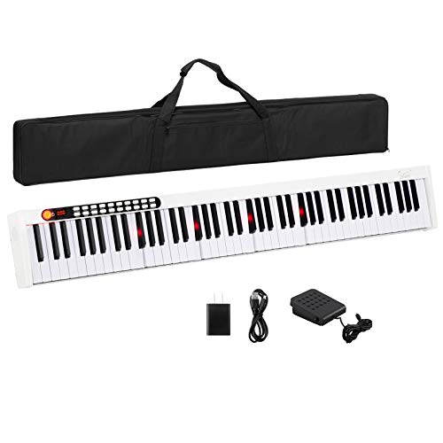 GLARRY 88 Key Digital Piano Portable Touch Sensitive Electronic Keyboard w/Lighted Keys, MIDI Keyboard, Built-in Speakers, Power Supply, Power Supply, Portable Bag (White)