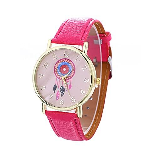 Yahunosu Patrón Reloj de Las Mujeres Dreamcatcher analógica Relojes con Cuero de la PU del brazal de Rosa roja