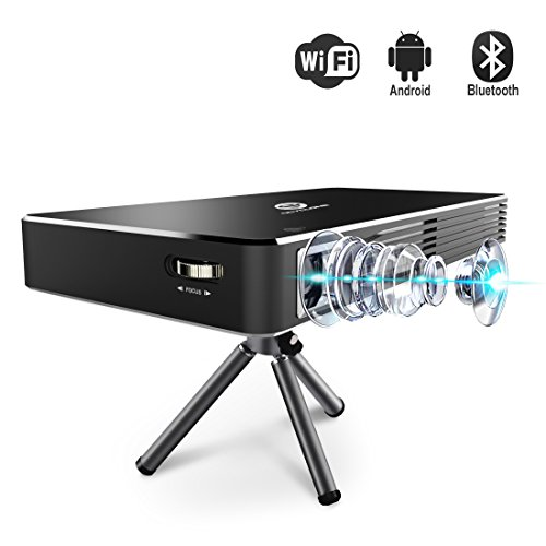OCYCLONE Portable Mobile Mini Movie Projector, Smart Wireless Home Theater Small Pico Pocket Video Projector 1080P HD Support Wifi /Bluetooth /HDMI /USB /TF Card /VGA Laptop iPhone Andriod Smartphone