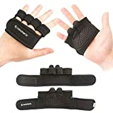 Weight-Lifting Exercise Workout Fitness Gloves Gym Barehand Grips, Support Cross-Training, Rowing, Power-Lifting, Pull Up for Men & Women (Black, Medium)