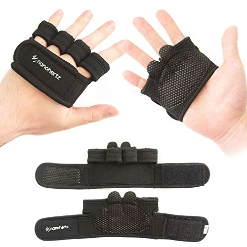 Weight-Lifting Crossfit Workout Fitness Gloves | Callus-Guard Gym Barehand Grips | Support Cross-Training, Rowing, Power-Lifting, Pull Up for Men & Women (Black, Medium)