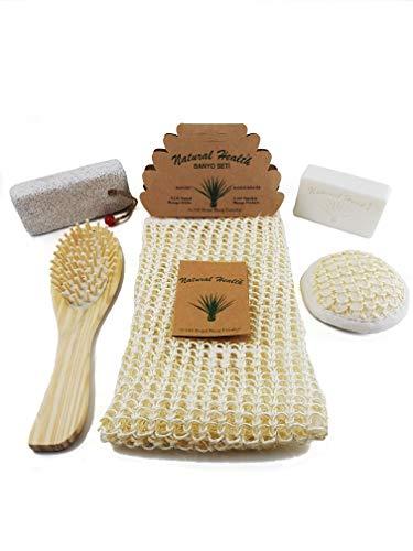 Premium Natural Exfoliating Bath & Shower Scrubber Set for Women & Men – 5 in 1 Bath Kit – Natural Loofah Body Scrubber Sisal Bristles, Luffa Face Sponge Pad, Pumice Stone, Organic Soap, Massage Comb