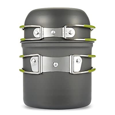 WINOMO 2pcs Outdoor Cookware Camping Pans and Pots Cooking Tool Set for Hiking Picnic