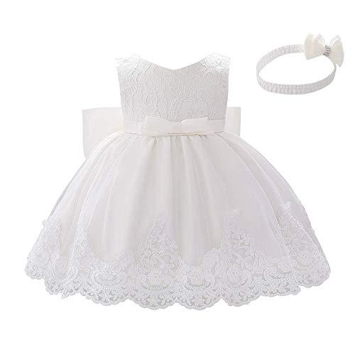 IBAKOM Baby Mädchen Taufe Kleidung Zeremonie Geburtstag Party Kleid Blumenmädchen Brautkleid mit Großer Bowknot Stirnband Fotoshooting Outfit Weiß 9-12 Monate