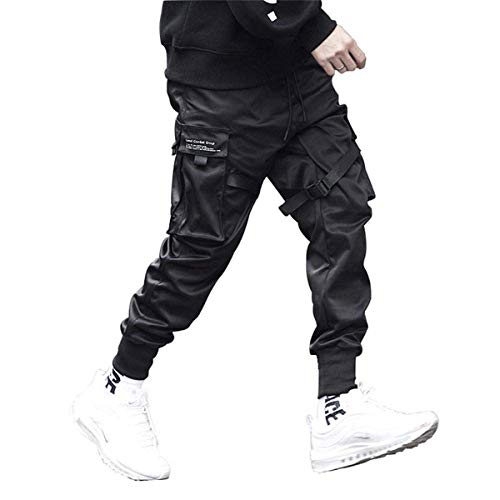 Astellarie Mens Casual Pants Multi-Pockets Fashion Cargo Joggers Gym Drawstring Long Pants Black