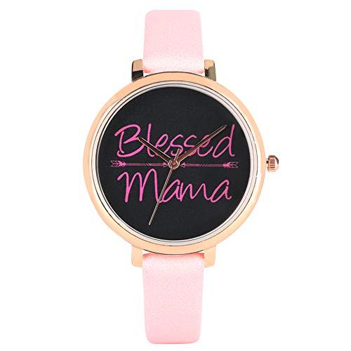 Hermoso Blessed Mama Series Reloj para mujer, de alta calidad, correa de piel sintética para mujer, elegante reloj de pulsera rosa para mujer