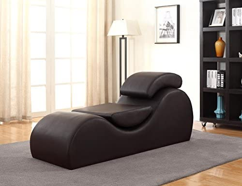 Container Furniture Direct Devon Collection Modern Faux Leather Upholstered Stretch and Relaxation Living Room Chaise Lounge, Dark Brown
