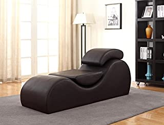 Container Furniture Direct Devon Collection Modern Faux Leather Upholstered Stretch and Relaxation Living Room Chaise Lounge, Dark Brown (B01LX3CRVT) | Amazon price tracker / tracking, Amazon price history charts, Amazon price watches, Amazon price drop alerts