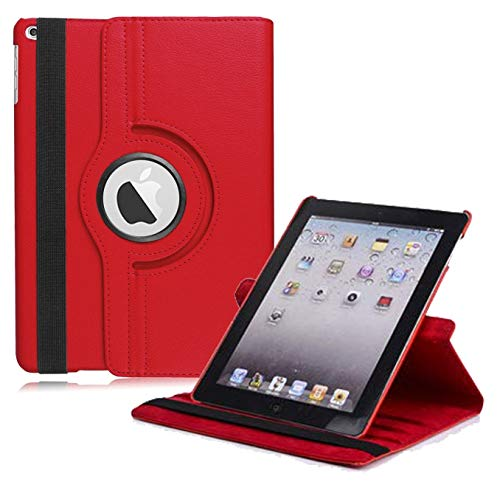 "New iPad 2017 9.7"" / iPad Air 2 Leather Case,360 Degree Rotating Stand Smart Cover with Auto Sleep Wake for Apple iPad Air or New iPad 9.7 Inch 2017 Tablet (Red)"