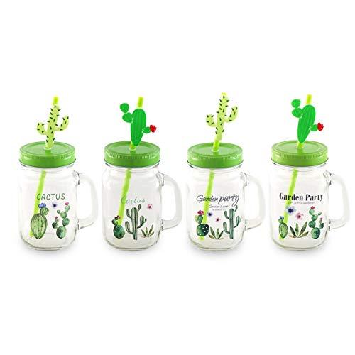 CAPRILO. Lote de 8 Jarras Decorativas de Cristal con Pajita Cactus. Vajillas...