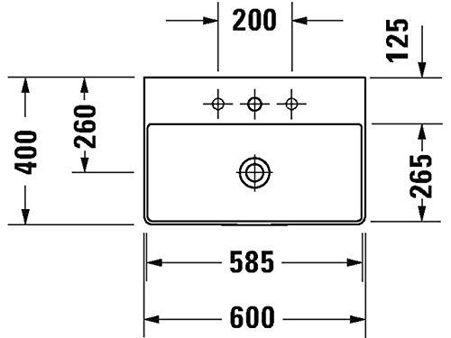 Duravit Waschtisch 600mm DuraSquare Compact Weiß, 2 Hahnlöcher Mitte, WG, 23566000401
