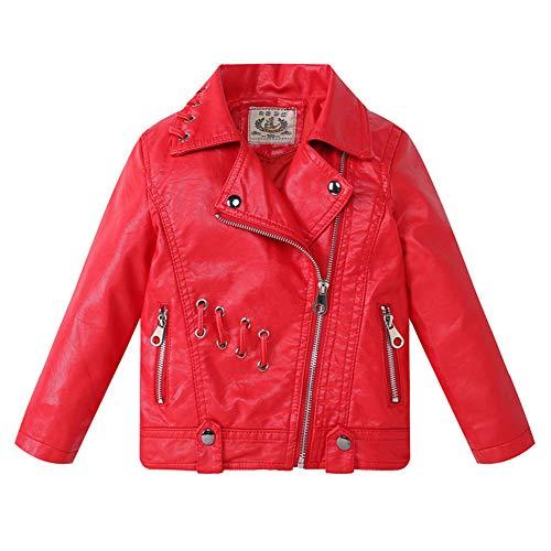 SXSHUN Mädchen Lederjacke PU Leder Kinder Jungen Modern Outwear Kleidung Mantel Biker Style Motorradjacke, Rot, 134/140 (Etikettengröße:140)
