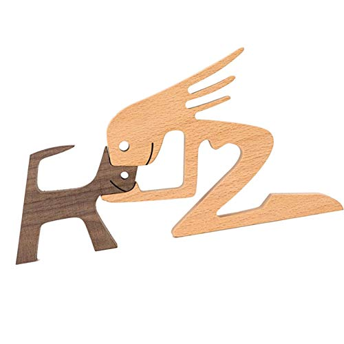 Yourenyuan Holzschnitzerei Dekoration, Welpen Holzschnitzerei Ornamente, Holzhandwerk, Holzwelpen, Home Office Desktop Kreative Geschenke