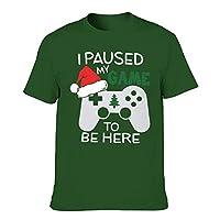 メンズ Tシャツおしゃれ Man Short Sleeve T-Shirt Christmas Pausierte ich Mein Spiel, um Hier zu Sein Print T-Shirt,Dark Green001,3XL