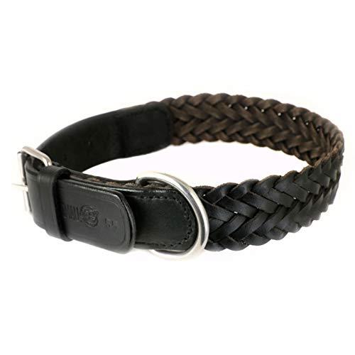 Monkimau Halsband für Hunde aus echt Leder geflochten verstellbar XL 47-58 cm