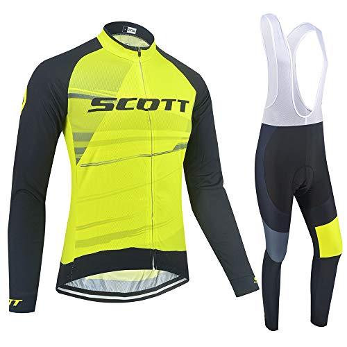 XIAKE Completo Abbigliamento Ciclismo da Uomo, Autunno Invernale Maglia Ciclismo Maniche Lunga, Pantaloni Lunghi da Ciclismo con 5D Cuscini Imbottiti