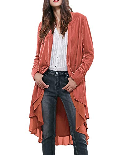 R.Vivimos Womens Ruffled Asymmetric Long Velvet Blazers Coat Casual Jackets (Large, Coral)