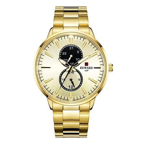 Relojes para Hombre Cronógrafo de Acero Inoxidable 30M Reloj Deportivo de Moda a Prueba de Agua Crono de Cuero para Hombre -B