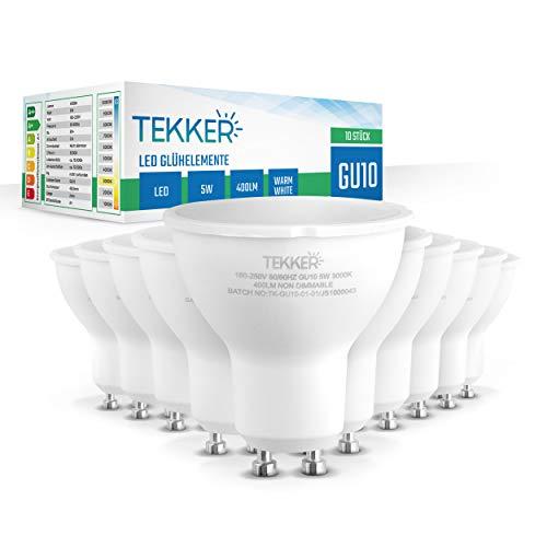 TEKKER® Premium GU10 LED – 10 Stück – LED Leuchtmittel – Kein Flackern – Warmweiss 3000 K – 5W – 400 Lumen – 15.000h Lebenszeit – 180-250V – Energieklasse A+ – Ersatz für traditionelle Halogenlampen