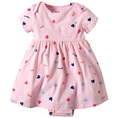 Vestido Niña Ropa Bebé Vestidos Manga Corta Princesa Verano Flor Impreso Traje Forma Corazon Rosado 3-6 Meses