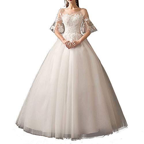 Generies Dresses for Women Party Wedding Sweetheart Beaded Corset Classic Tulle Wedding Dress White