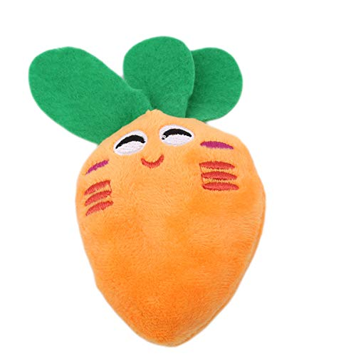Beiswe Sound Squeaker Chew Dog Cat Toys Pet Puppy Squeak Plush Fruits Vegetables Feeding Bottle Small Animals Toys for Pet Bite Play (Carrot)