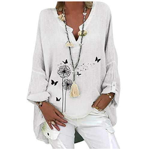 URIBAKY - Blusa de mujer con cuello en V de gran tamaño a la moda, estilo informal, elegante, de algodón y lino, de manga larga, C-blanco, M