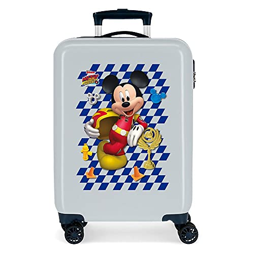 Disney Mickey Good Mood Maleta de Cabina Azul 38x55x20 cms Rígida ABS Cierre de combinación Lateral 34 2 kgs 4 Ruedas Dobles Equipaje de Mano
