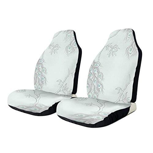 KDU Fashion Voorste Stoelhoes, Pauw Behang Auto Stoelbeschermer, Beschermende Voorste Auto Stoelbeschermers Voor Van Auto, 2 stks