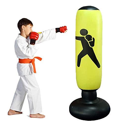 Lake Aufblasbarer Sport-Boxsack, Box-Fitness-Tasche Aufblasbarer freistehender Tumbler-Druckentlastung mit Fußluftpumpe Entlastungsdruck für Jugendliche Erwachsene, 63 Zoll (Gelb)