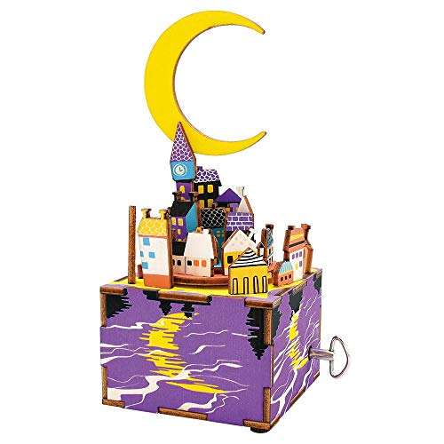 JLA 3D Puzzle en Bois De Dessin Animé Star City Moonlight Music Box, Enfants Ou Adult Toy Kit De Construction, 73 * 80 * 175Mm