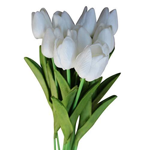 Gaoominy 15 Piezas Belleza Prensa Flor Flor de TulipáN Ramo Artificial Flor Falsa Ramo de Novia DecoracióN Flor Boda Blanco + Verde