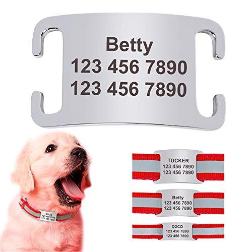 Didog Haustier-ID-Anhänger zum Aufschieben, personalisierbar, Edelstahl, geräuschlos, für Hunde und Katzen, Größe L