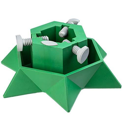 KADAX Weihnachtsbaumständer mit Wasserbehälter, Stabiler Christbaumständer aus robustem Kunststoff für Bäume, moderner Tannenbaumständer, Verschiedene Großen, grün (Baumhöhe bis 2m)
