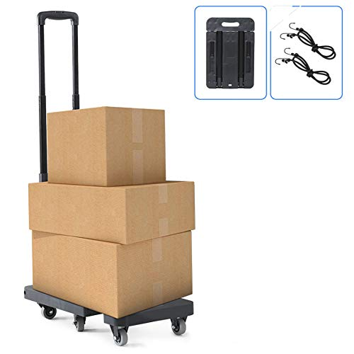 Fnova Folding Trolley on wheels, Folding Hand Truck 400 lbs/180KG Capacity, Capacity Heavy Duty Folding Luggage Cart with Stretchable Expansion Base