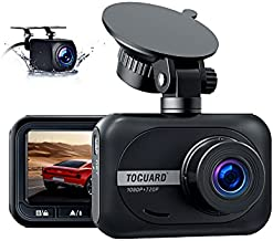 Dash Cam Front and Rear, TOGUARD Dual Dash Cam 1080P Front Car Camera W/720P Waterproof Rear Camera Parking Mode, 2.45