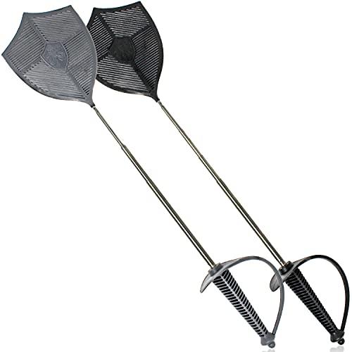 Selldorado® 2X Fliegenklatsche Schwert ausziehbar in den Farben schwarz/grau - Fliegenklatschen mit Schwertgriff - Insektenschutz, Schädlingsbekämpfung
