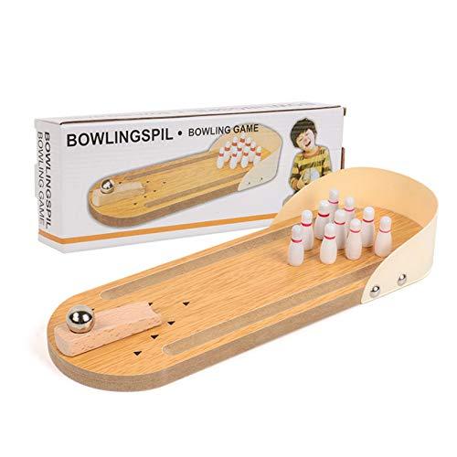 Grafts - Juego de juguetes de madera, mini escritorio con diseño de Bowling