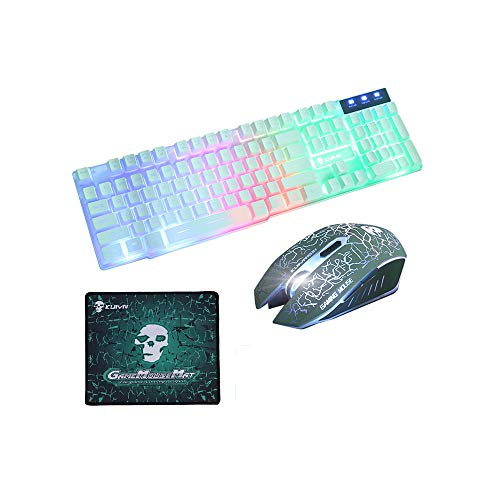 Rainbow Backlight Gaming Keyboard and Mouse Combo, T6 Rainbow Backlight USB Gaming Keyboard 104 Keys Keyboard + 2400DPI 6 Buttons LED Gaming Mouse + Mouse Pad Set for PC Laptop (White)