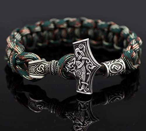CNZXCO Brazalete Vikingo, Pulsera Vikinga Hombre, Amuletos De La Suerte Y Proteccion, Shone Nordic Viking Thor Mjolnir Hammer Paracord Amuletic, Rune Knot Amuleto Pulsera Escandinava (颜色 Color : 7)
